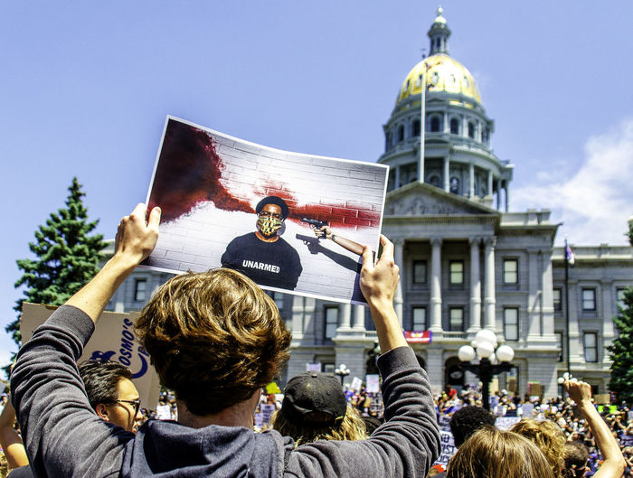 Denver citizens protesting the murder of george floyd.