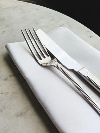 Studio Shot Napkin Place Setting Plate Fork Table Table Knife Silverware  Close-up