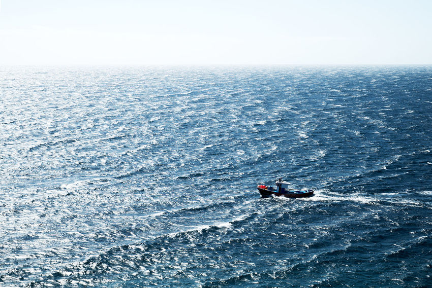 Adventure Beauty In Nature Day Fishing Fishing Boat Horizon Over Water Nature Nautical Vessel Outdoors Sea Water Waterfront Wave EyeEmNewHere