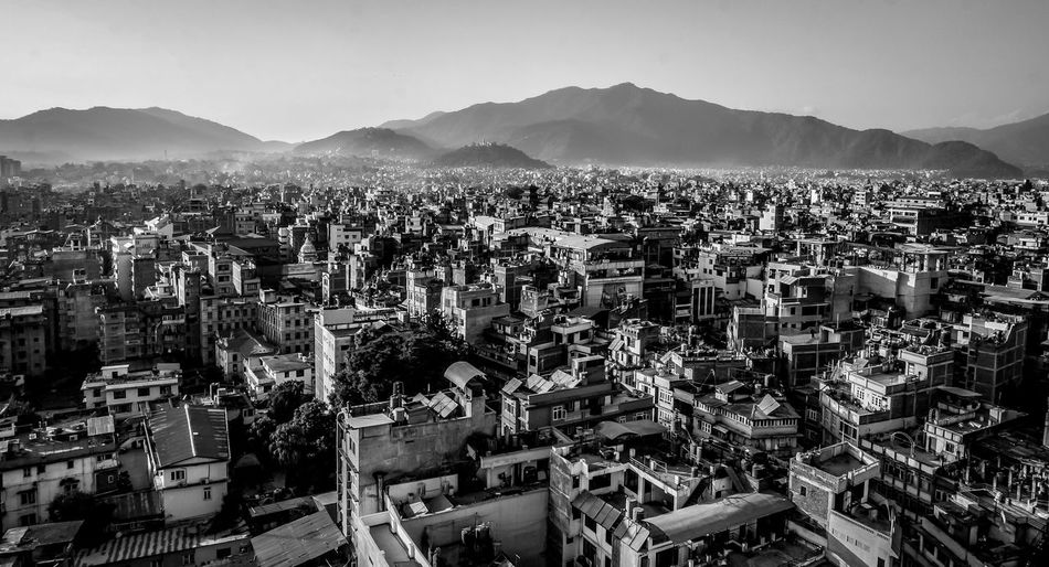 High angle view of kathmandu cityscape