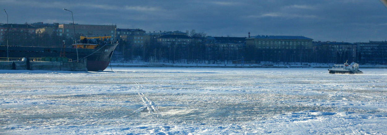 Hovercrafts on Onega Lake City Onega Lake Panorama Petrozavodsk Shades Of Winter Built Structure Cold Temperature Day Frozen Frozenlake Hovercraft No People Outdoors Ship Snow Winter
