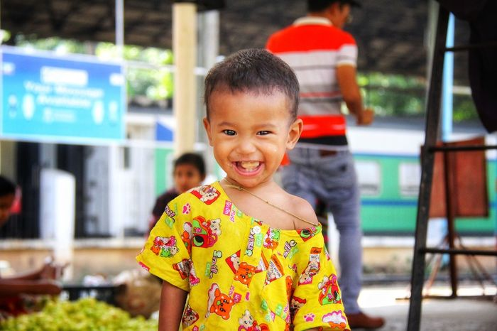 Looking At Camera Portrait Child Childhood Smiling Girls Cheerful Happiness Toothy Smile Cute Children Only One Person People Human Body Part Outdoors Real People Human Face One Girl Only Lifestyles Yangon, Myanmar Yangon Circular Railway