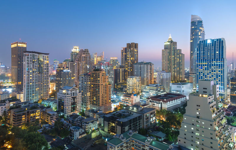 Bangkok city has city of business and communication in the morning with sunset at bangkok thailand.