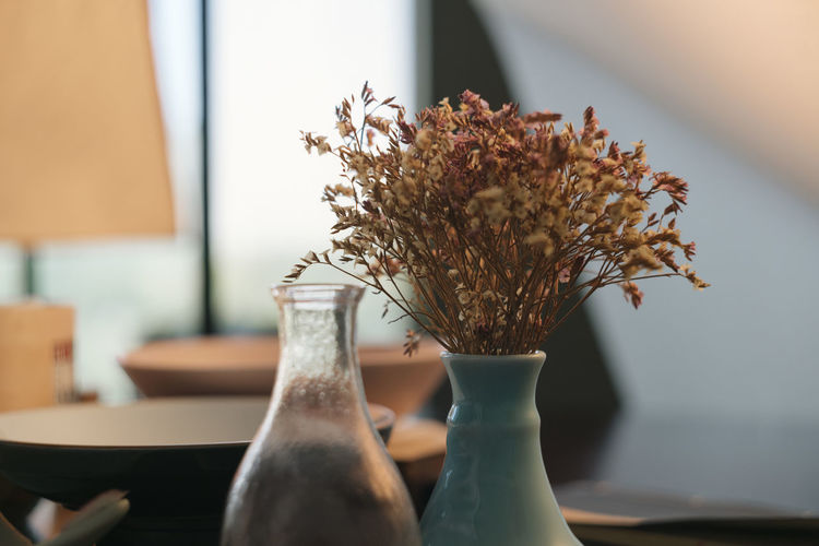 Close-Up Of Plants In Vase At Home