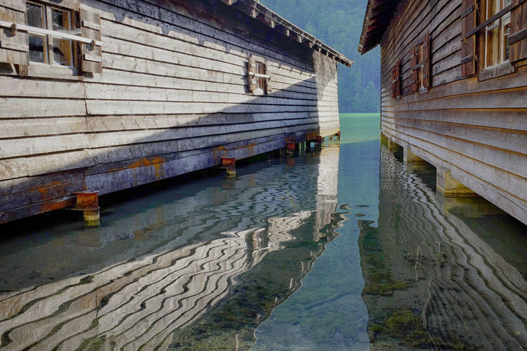 Cottages reflection in konigssee