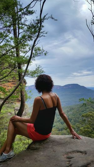 Portrait Of A Woman Beauty In Nature Sillouette View Tranquility Bluemountains Australian Landscape