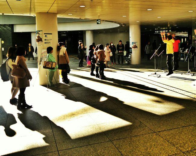 Busking Singing and Dancing group draws a croud in the underground Plaza near Downtown Shizuoka-shi Shizuoka