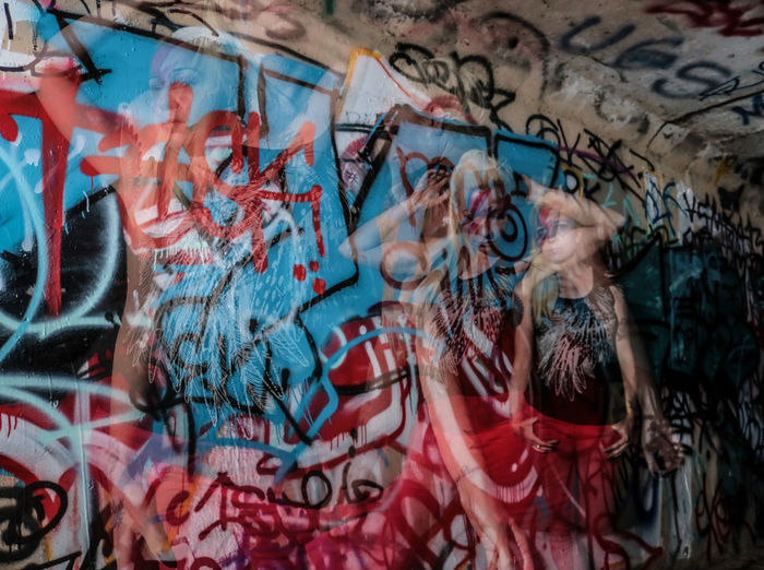 EyeEm Selects Graffiti Street Art Built Structure Experimental Photography Multiple Exposure Artist Face Paint Lady Stardust Tiina K Model David Bowie Dedication David Bowie Tribute Beautiful Woman Female Model Music Lifestyles Arts Culture And Entertainment Portrait Graffiti Only Women Fashion Model One Young Woman Only One Person