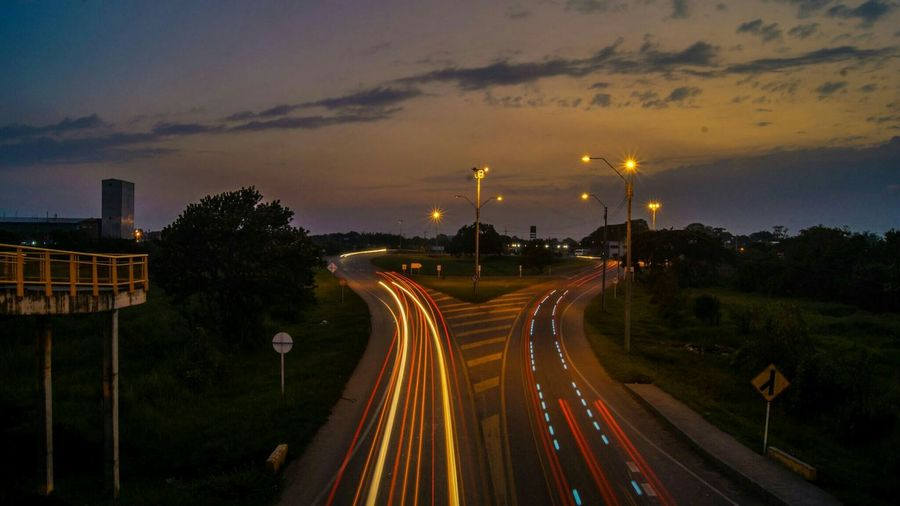 High Angle View Of Light Trail On Road