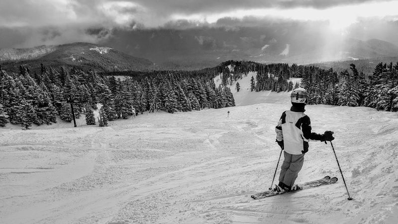 Black And White Skiing Snow