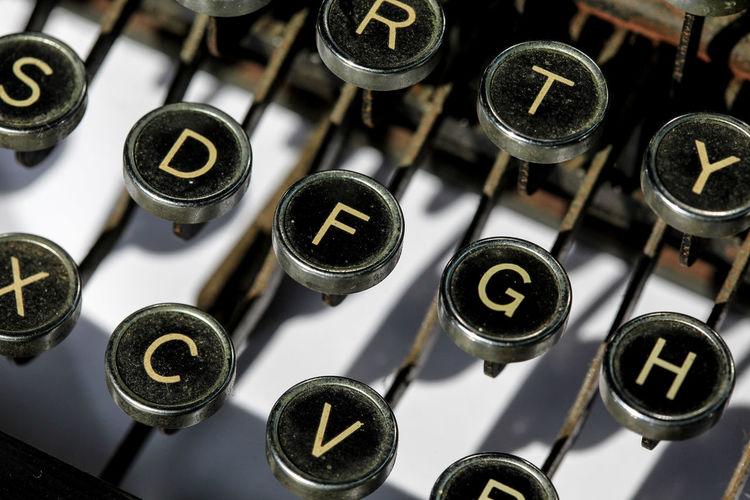 Full frame shot of typewriter keyboard