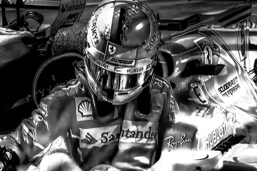 Sebastian Vettel wins Brazilian F1 GP Black & White Brazilian Grand Prix 2017 Formula 1 HelmetArt Red Ferrari Scuderia Ferrari Sebastian Vettel Car Close-up Day Helmet Race Speed
