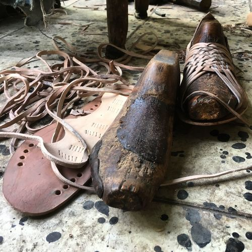 High angle view of shoes on wood