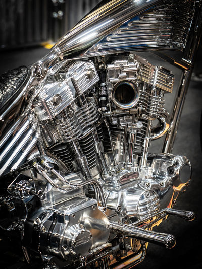 Engine Harley Davidson Special Motorcycle Caferacer Technology Business Finance And Industry Close-up