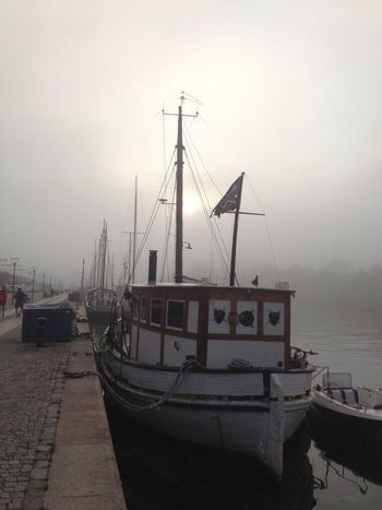One More Autumn Fog Foggy Morning Nautical Vessel Water Sky Harbor Mast Sea Pirate Ship City Transportation Old Favorite Photos Stockholm, Sweden 2012