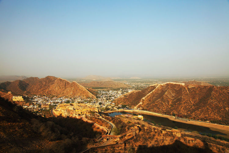 Aerial view of jaigarh fort and mountains against clear sky
