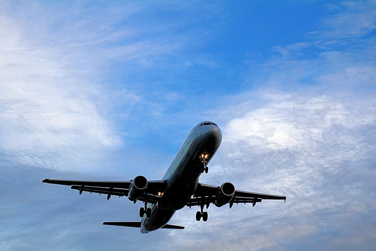 Low angle view of airplane flying in blue sky