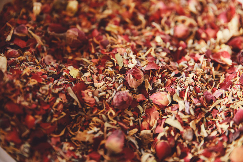Abundance Backgrounds Close-up Day Dried Dried Flowers Dried Plant Dryed Flower Food Freshness Full Frame Heap Large Group Of Objects Leaf Leafs Nature No People Petals Pot Red Season  Selective Focus Still Life Tea Tea Time