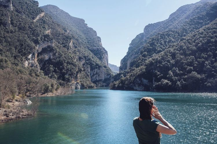 Calm Outdoors Landscape Landscape_Collection Lake Blue Lake Water Views Woman Hair Wind Windy Mountains Green Nature Nature_collection Travel Hiking