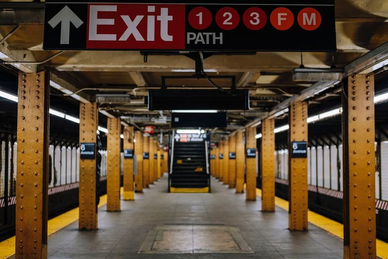 Exit Sign On Subway Station Platform