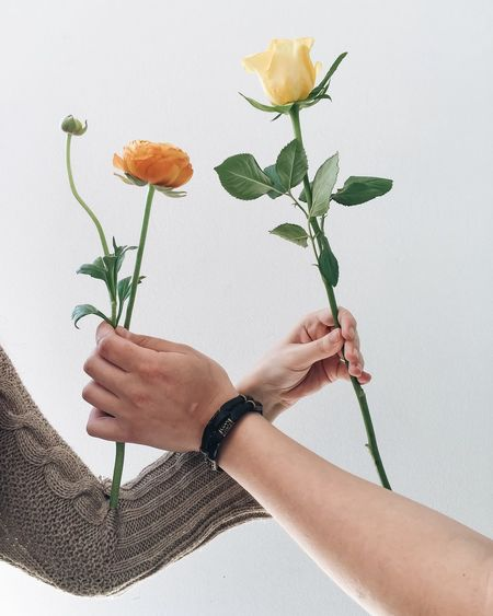 Cropped image of man and woman holding flowers