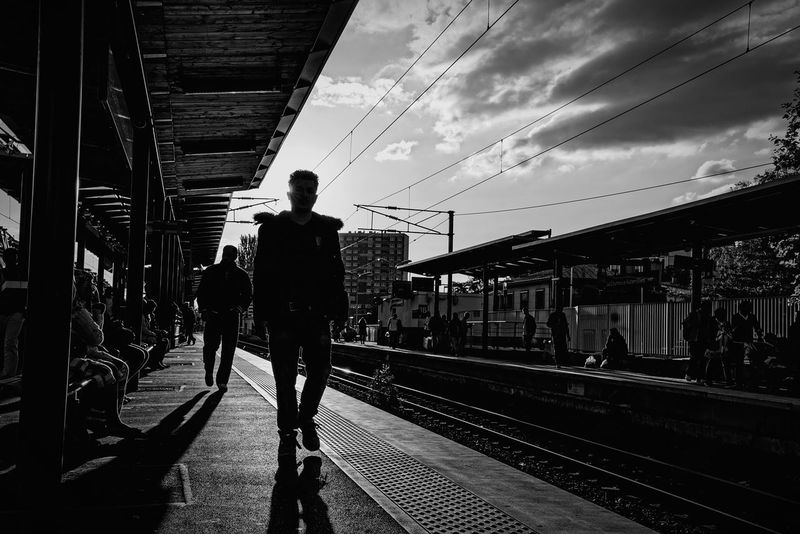 Shadow Blackandwhite RerB France Waiting Waiting In Line Only Men Full Length Real People One Person Railroad Station Platform Outdoors People Public Transportation One Man Only Fukazy Lacourneuve Nikonphotography DayPhotography Railing Men Cloud - Sky