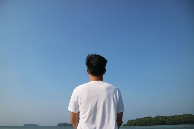 Rear view of man standing against clear blue sky