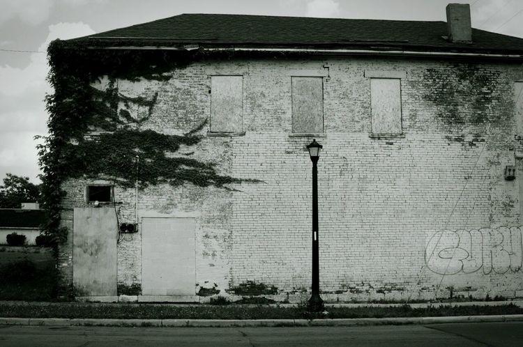 Black And White Street Photography Columbus Ohio Brick East Side
