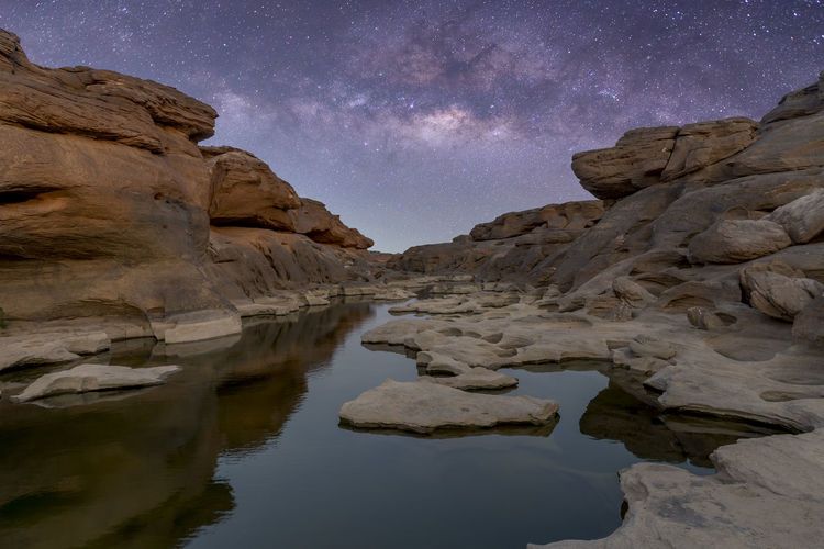 Milky Way Solid Rock - Object Rock Water Scenics - Nature Nature Rock Formation Sky Night No People Environment Reflection Landscape Beauty In Nature Land Star - Space Travel Travel Destinations Astronomy Outdoors