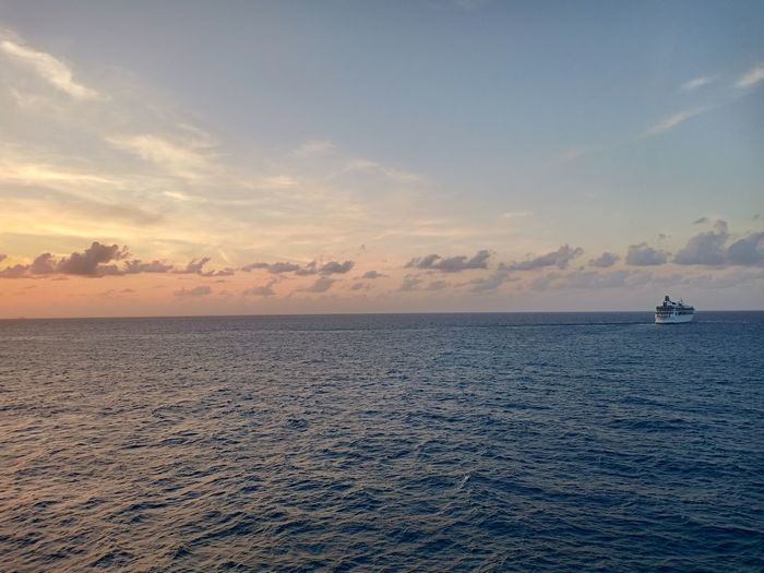 Sunset, private island, cococay, ship, at sea, sky, cloud