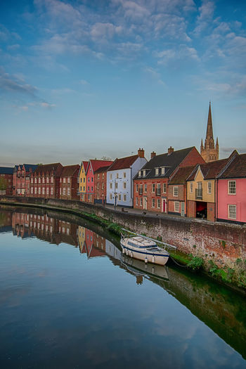 In A Row Church Blue Sky Architecture Architecture_collection Europe England Great Britain United Kingdom Norfolk Norwich Waterfront Water Reflections Boat City Cityscape Town Reflection Old Town TOWNSCAPE Panoramic Row House