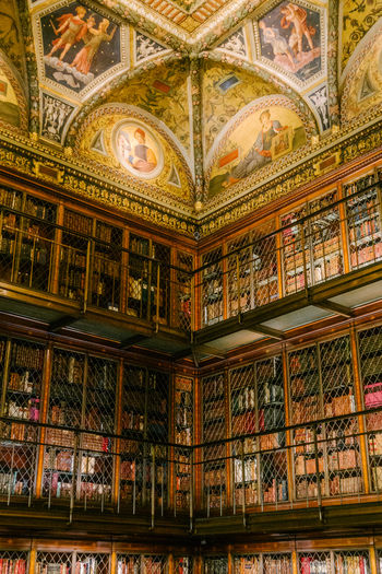 The Morgan Library & Museum Bookshelf Book Indoors  Shelf Library Architecture Ceiling Low Angle View Ornate Manhattan Murray Hill New York NYC