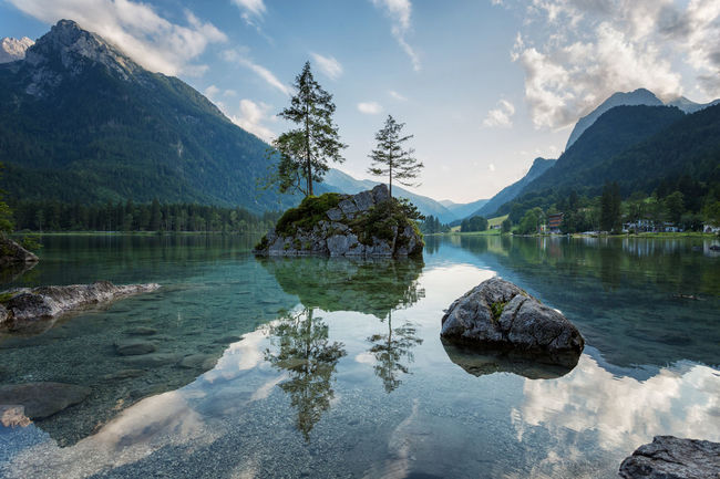 Beautiful Hintersee Alpen Berchtesgadener Land  Hintersee Alps Beauty In Nature Berchtesgaden Cloud - Sky Day Idyllic Lake Mountain Mountain Range Nature No People Outdoors Ramsau  Reflection Rock - Object Scenics Sky Tranquil Scene Tranquility Tree Water Waterfront