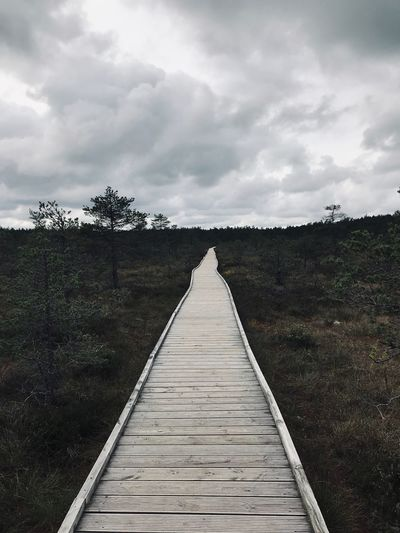 Made With IPhone 7 No Filter No Effects Cloud - Sky Sky The Way Forward Direction Diminishing Perspective Nature Plant Wood - Material Day Footpath Land Tree Tranquility vanishing point Boardwalk No People Outdoors Tranquil Scene Beauty In Nature Scenics - Nature