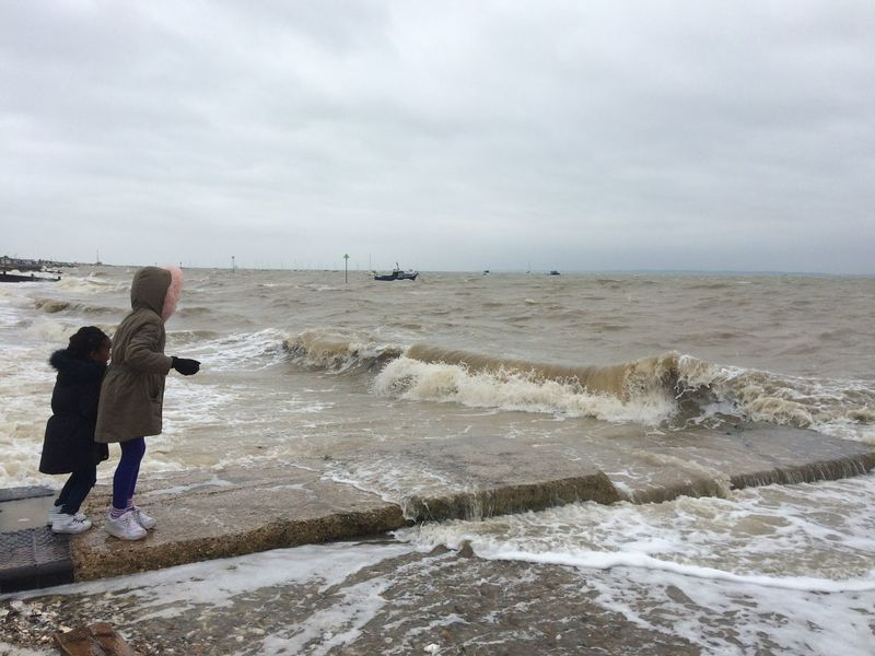 Children Iphonephotography Cold Days Waves Crashing Windyday Southend On Sea