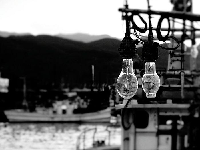 漁船の灯り 集魚灯 北海道 Hokkaido Sea Water EyeEm Nature Lover EyeEm Best Shots - Black + White Monochrome Bw_collection Bw_lover モノクロ 白黒写真