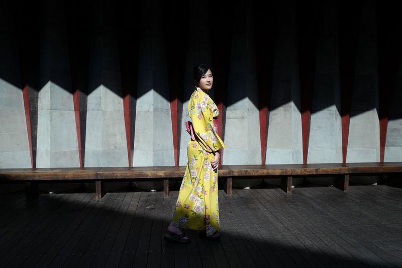 Kinosaki Yukata Japan Photography YUKATA One Person Full Length Real People Lifestyles Leisure Activity Front View Architecture Traditional Clothing Women Architectural Column Shadow Sunlight