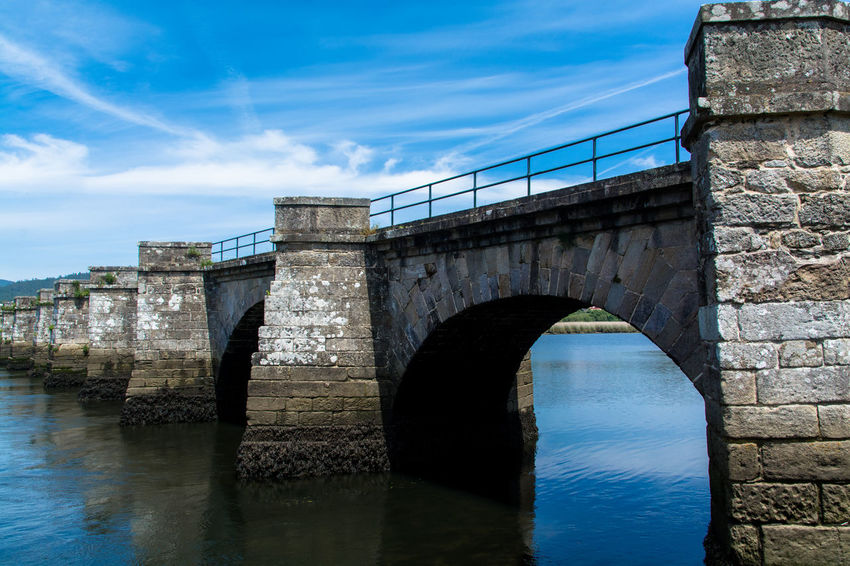 Medieval Architecture Old Bridge By The River Water And Sky Galicia, Spain Riverside Walking Around Countryside Exploring Blue Sky