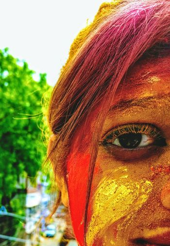 Lifestyles Real People Multi Colored Close-up Cultures One Person Adult Adults Only Religion Portrait Outdoors Men People Statue Only Women Day Holi Beauty In Nature Mobile_photographer Photographing Mobile Photography Red Color Yellow Color Happiness Focus On Macro Beauty