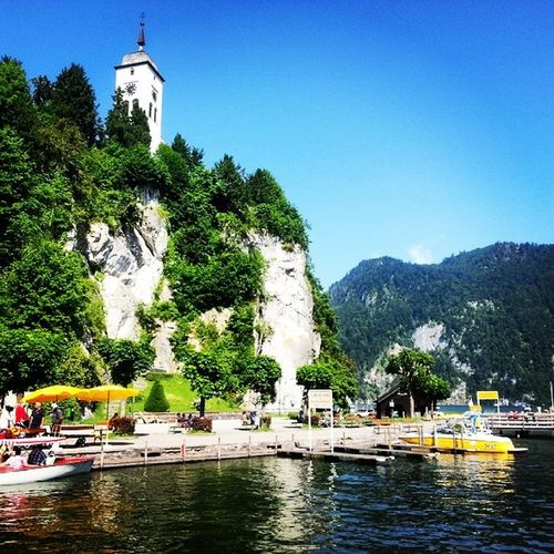 St. Johannes Kapelle Chapel Traunsee Traunkirchen Water Lake Mountains Trees Church Boats Clock Tower Harbour Hafen