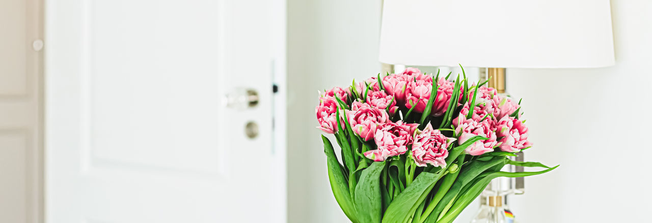 Close-up of pink flowers in vase at home