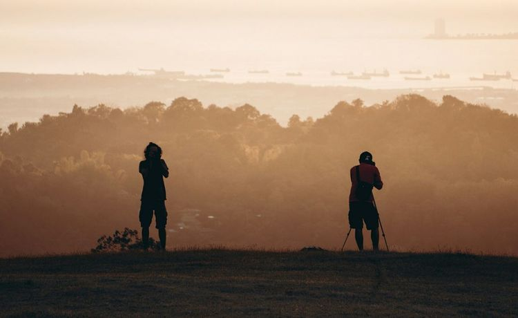 Back to back Sunrise Sony A6000 EyeEm Selects Adult People Full Length Adults Only Fog Only Men Outdoors Mountain Men Day