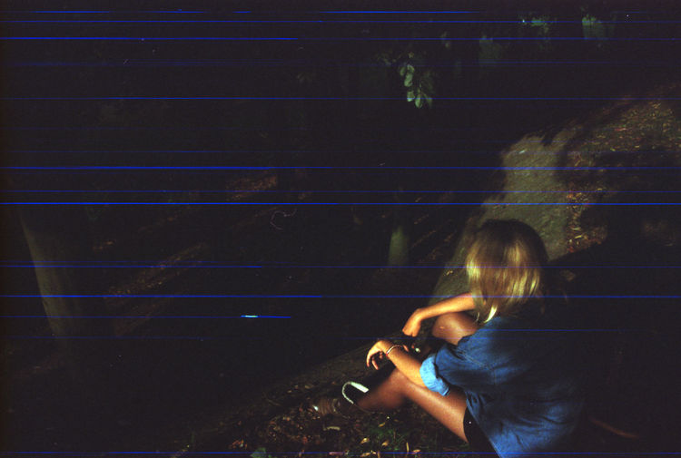 High angle view of woman at illuminated stage