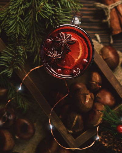 mulled wine and chestnuts, Christmas decoration Chestnuts Spices Winter Hanging Old-fashioned Christmas Ornament Christmas Lights Pine Tree Decoration