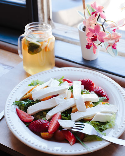 sweet beaty Close-up Day Drink Flower Food Food And Drink Freshness Healthy Eating Indoors  No People Plate Ready-to-eat Salad Serving Size Strawberry Table Window