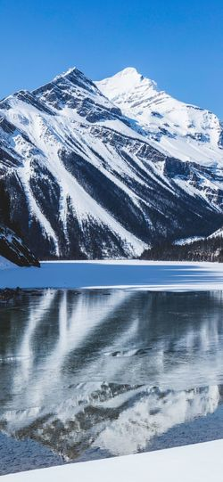 Cold Temperature Winter Beauty In Nature Scenics - Nature Snow Mountain Water Tranquil Scene Tranquility Nature Sky Day Non-urban Scene No People Snowcapped Mountain Idyllic Lake Outdoors