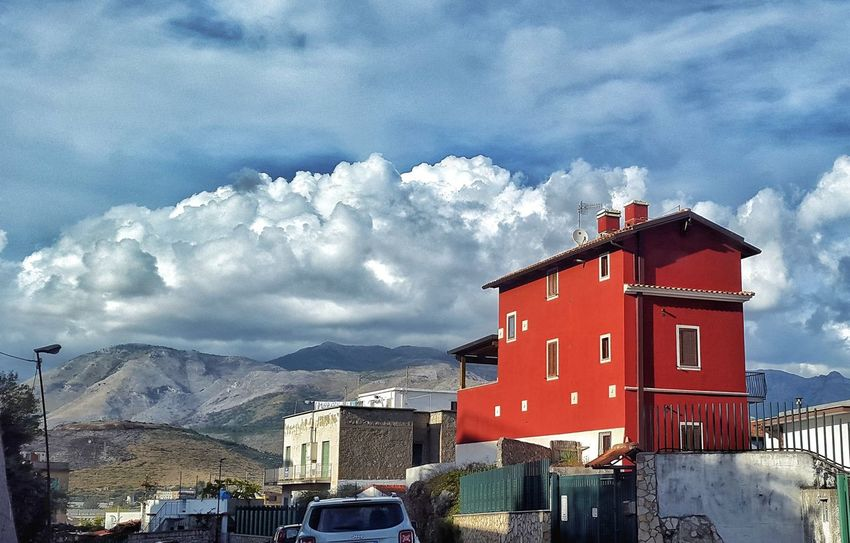 Villa Latina Italy Beautiful Contrast Clouds And Sky Cloud Lookingup Red Color Red House Red Sky Building Exterior Architecture Cloud - Sky Mountain Road