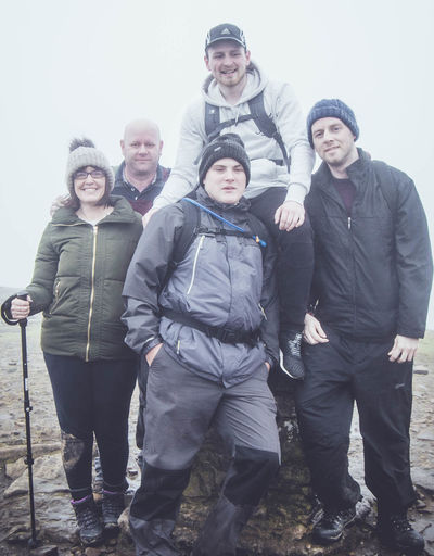 Friendship Full Length Group Of People Happiness Headwear Leisure Activity Looking At Camera Men Mid Adult Men Mountain Pen-y-ghent People Portrait Smiling Standing Teamwork Three Peaks Togetherness Warm Clothing Winter Women Yorkshire Dales Yorkshire Three Peaks Young Adult Young Women