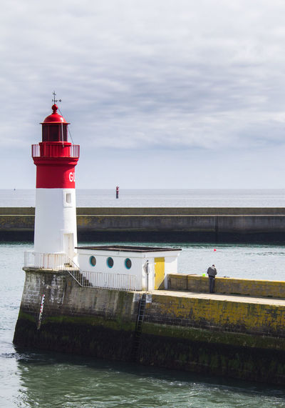Architecture Beauty In Nature Building Exterior Built Structure Calm Sea Cloud - Sky Colors Guidance Horizon Over Water Lighthouse Man Nature Outdoors Protection Red Safety Scenics Sea Tranquility Water Waterfront Le Guilvinec Bretagne Breathing Space