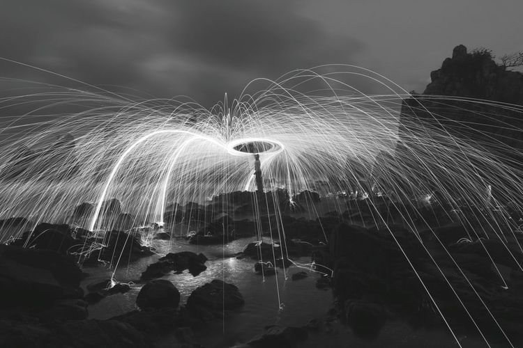 Landscape Black White Motion Long Exposure Night Spraying Water Splashing Sky Blurred Motion Outdoors No People Nature Illuminated Beauty In Nature Power In Nature Pixelated High Angle View WallpaperForMobile Wallpaper Of The Day EyeEmNewHere EyeEm Selects Nature Beauty In Nature Wallpaper